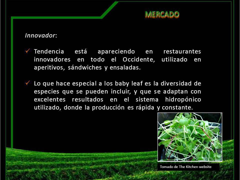 MERCADO MERCADO Valor agregado: El proceso poscosecha asegura una máxima calidad del producto y el empaque facilita la entrega de este en los diferentes restaurantes interesados.