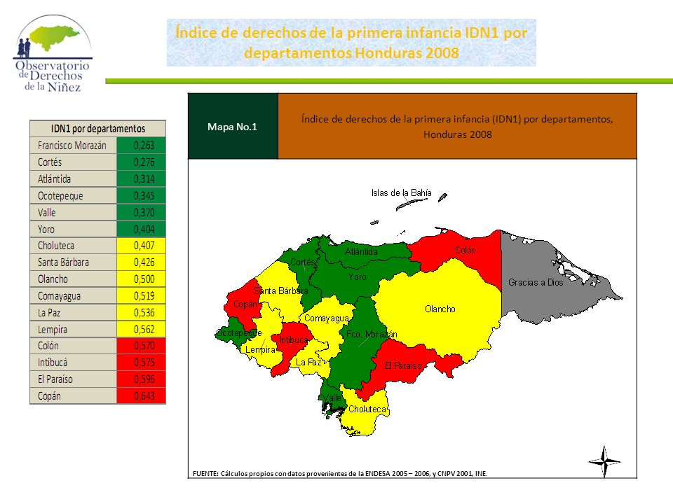 Índice de derechos de la primera infancia IDN1 por departamentos Honduras 2008 Mapa No.1 Índice de derechos de la primera infancia (IDN1) por departamentos, Honduras 2008 FUENTE: Cálculos propios con datos provenientes de la ENDESA 2005 – 2006, y CNPV 2001, INE.