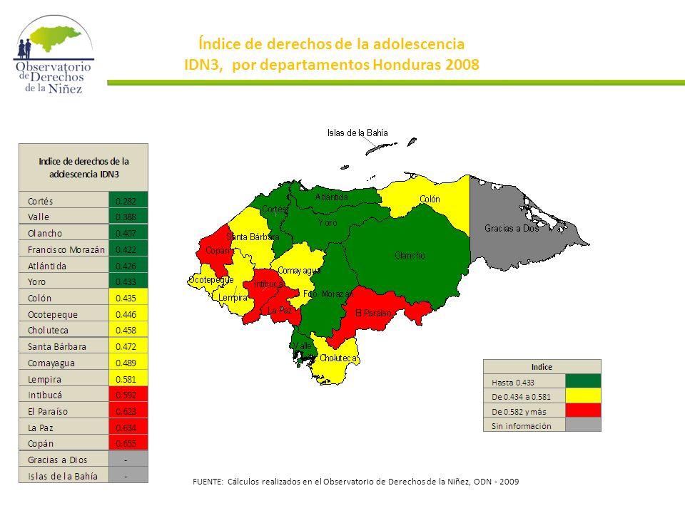 Índice de derechos de la adolescencia IDN3, por departamentos Honduras 2008 FUENTE: Cálculos realizados en el Observatorio de Derechos de la Niñez, ODN - 2009