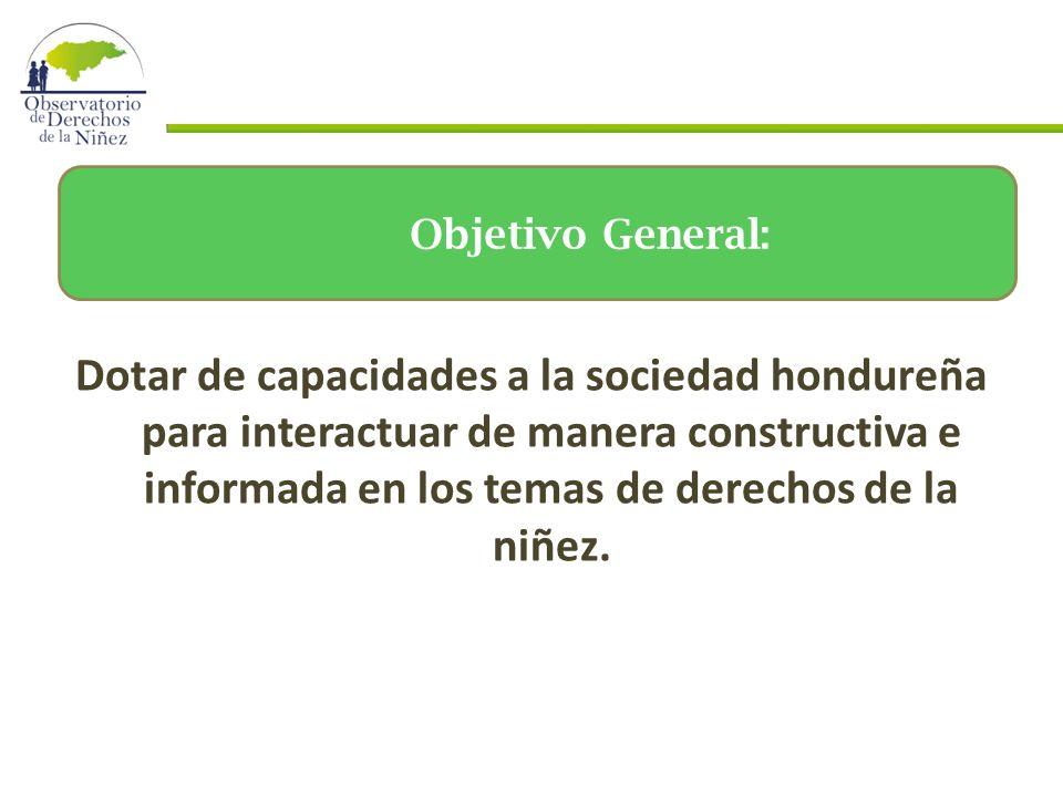 Dotar de capacidades a la sociedad hondureña para interactuar de manera constructiva e informada en los temas de derechos de la niñez.