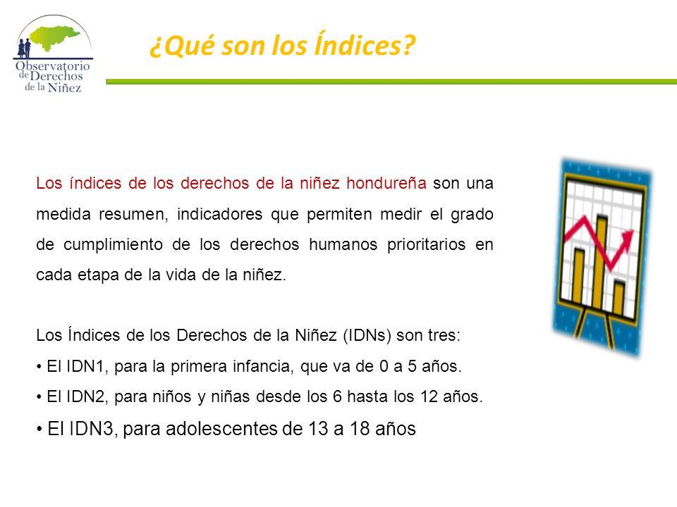 Los índices de los derechos de la niñez hondureña son una medida resumen, indicadores que permiten medir el grado de cumplimiento de los derechos humanos prioritarios en cada etapa de la vida de la niñez.