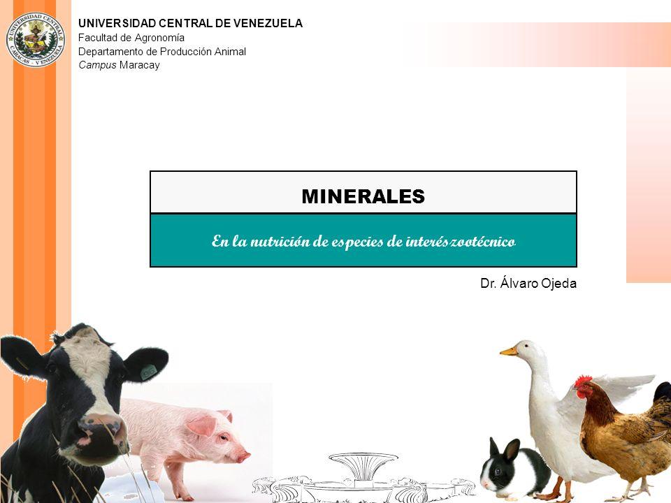 UNIVERSIDAD CENTRAL DE VENEZUELA Facultad de Agronomía Departamento de Producción Animal Campus Maracay MINERALES En la nutrición de especies de inter