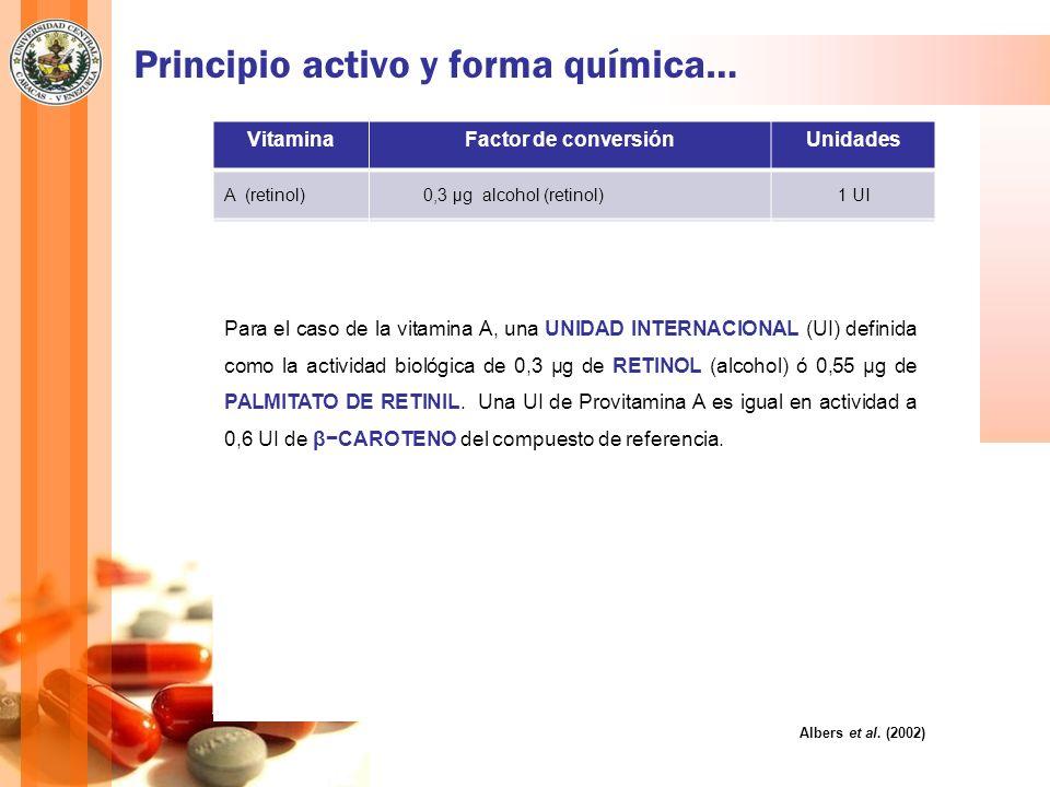 Principio activo y forma química… Albers et al. (2002) VitaminaFactor de conversiónUnidades A (retinol) 0,3 μg alcohol (retinol)1 UI 0,34 μg acetato 1