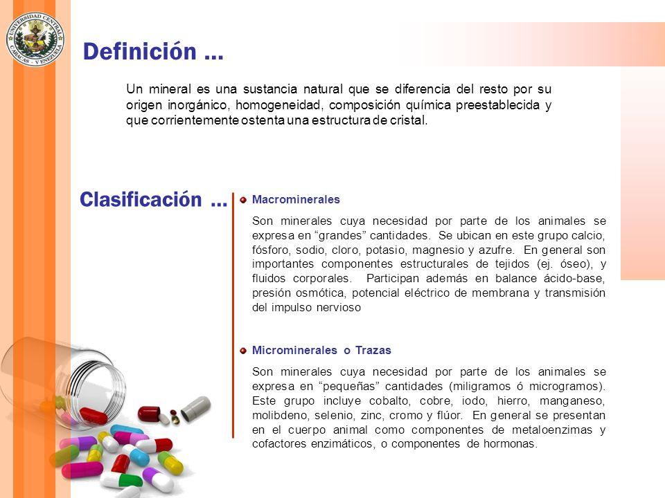 Definición … Un mineral es una sustancia natural que se diferencia del resto por su origen inorgánico, homogeneidad, composición química preestablecid