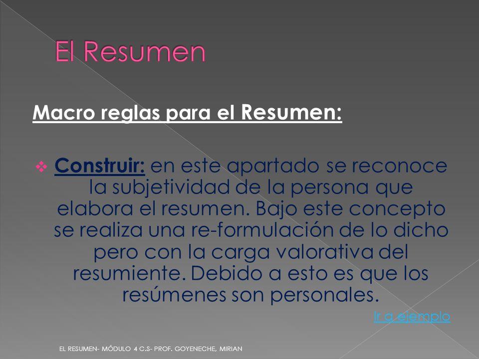 Macro reglas para el Resumen: Construir: en este apartado se reconoce la subjetividad de la persona que elabora el resumen. Bajo este concepto se real