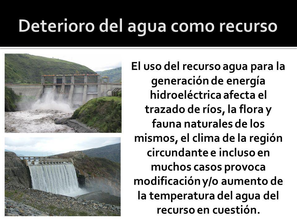 El uso del recurso agua para la generación de energía hidroeléctrica afecta el trazado de ríos, la flora y fauna naturales de los mismos, el clima de la región circundante e incluso en muchos casos provoca modificación y/o aumento de la temperatura del agua del recurso en cuestión.