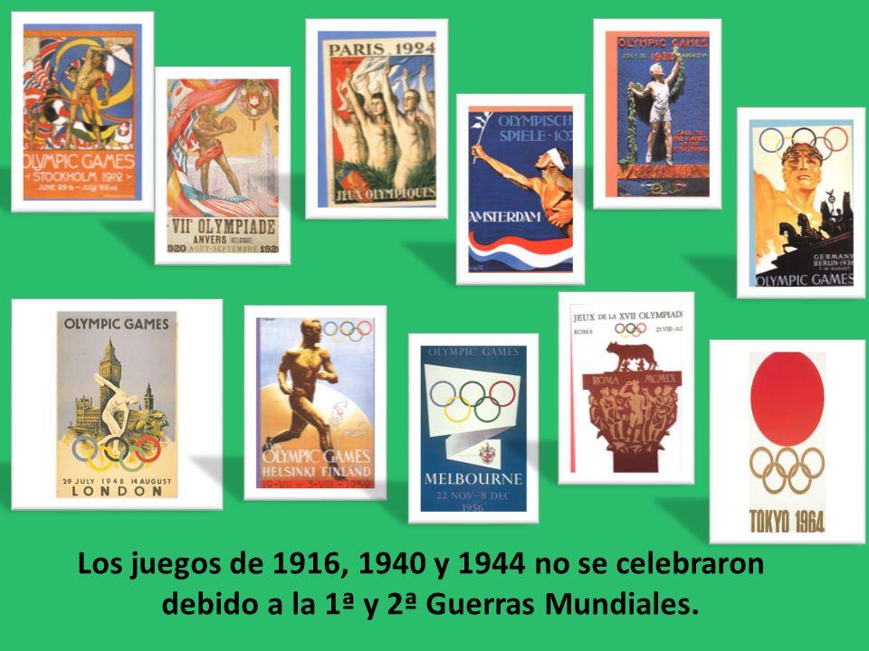Los juegos de 1916, 1940 y 1944 no se celebraron debido a la 1ª y 2ª Guerras Mundiales.