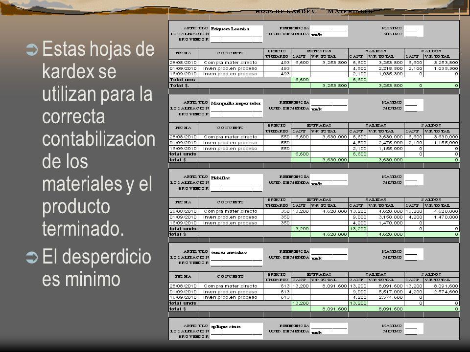 Estas hojas de kardex se utilizan para la correcta contabilizacion de los materiales y el producto terminado. El desperdicio es minimo