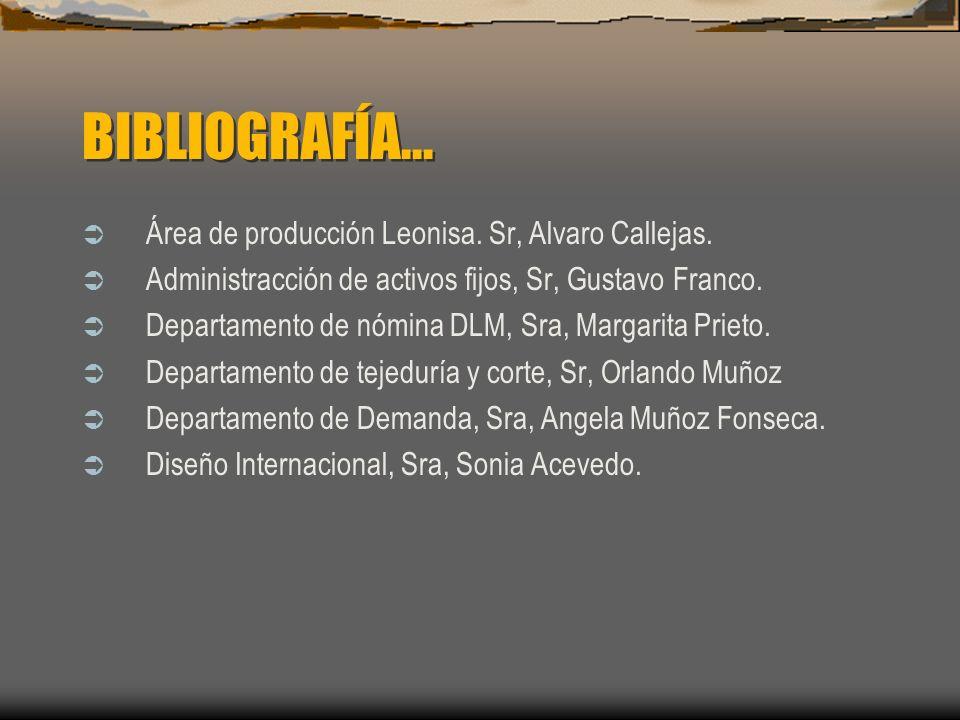 BIBLIOGRAFÍA... Área de producción Leonisa. Sr, Alvaro Callejas. Administracción de activos fijos, Sr, Gustavo Franco. Departamento de nómina DLM, Sra