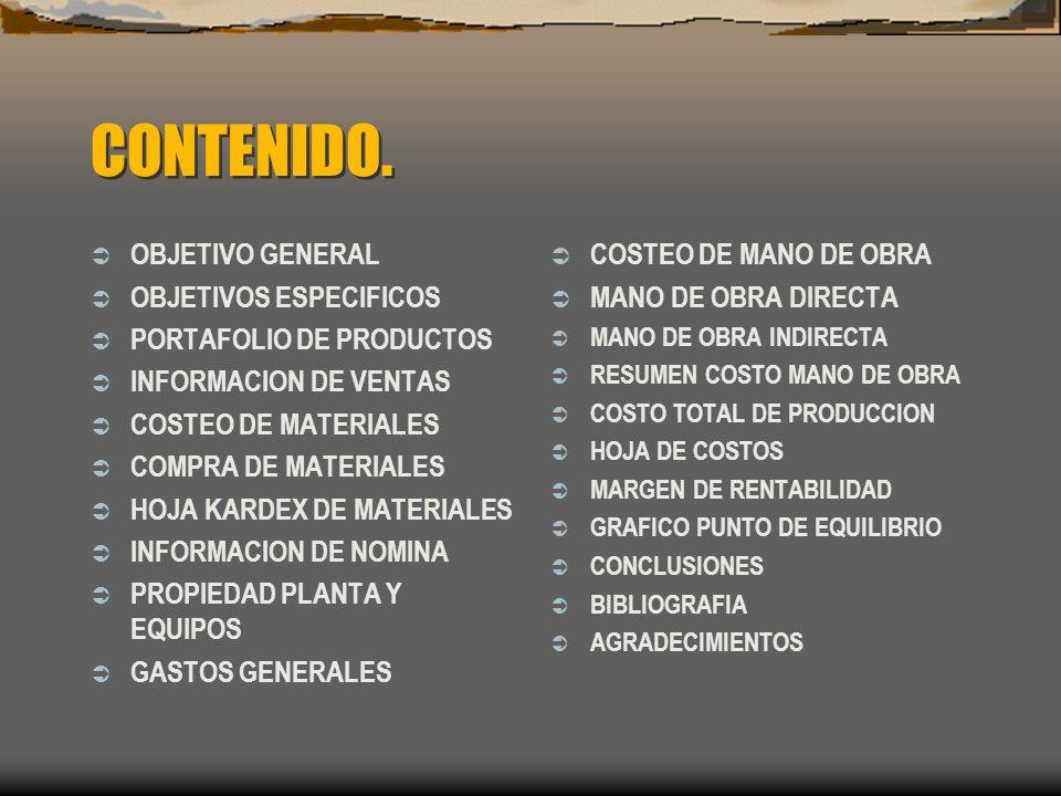 CONTENIDO. OBJETIVO GENERAL OBJETIVOS ESPECIFICOS PORTAFOLIO DE PRODUCTOS INFORMACION DE VENTAS COSTEO DE MATERIALES COMPRA DE MATERIALES HOJA KARDEX
