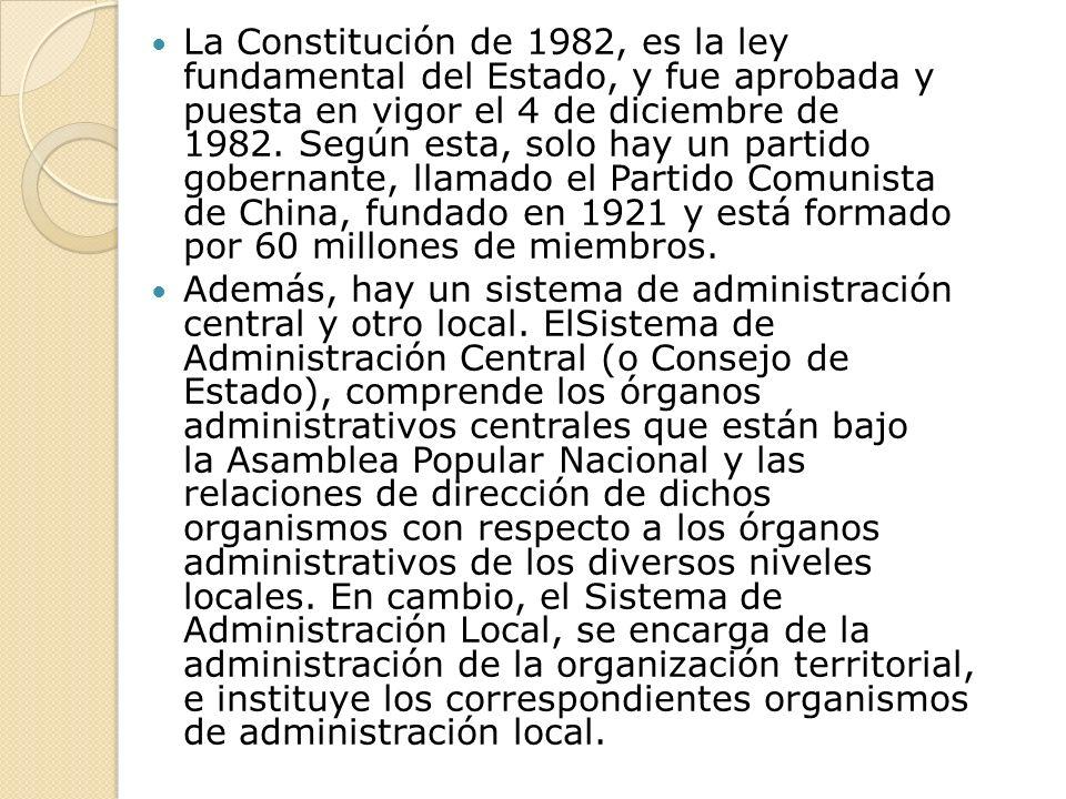 La Constitución de 1982, es la ley fundamental del Estado, y fue aprobada y puesta en vigor el 4 de diciembre de 1982.