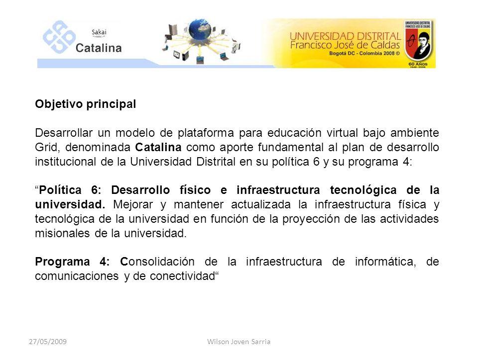 Objetivos específicos: Implementar un modelo de plataforma interoperable para e_learning de tipo genérico que se pueda usar en el ámbito de las instituciones de educación superior iberoamericanas.