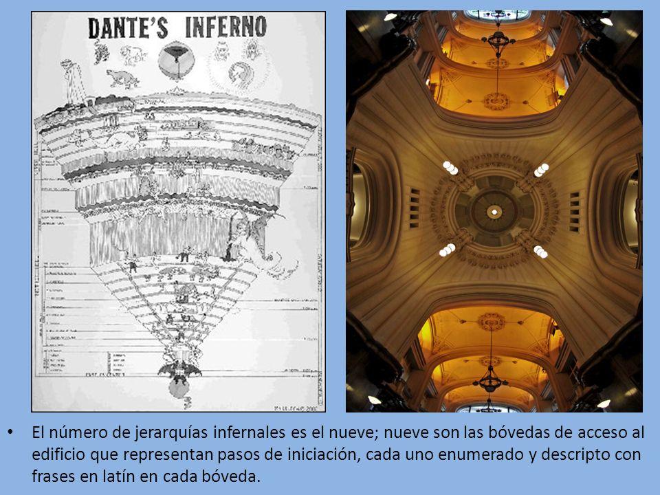 El número de jerarquías infernales es el nueve; nueve son las bóvedas de acceso al edificio que representan pasos de iniciación, cada uno enumerado y