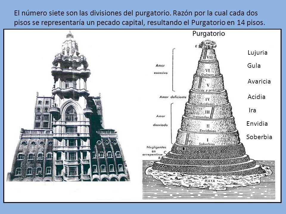 El número siete son las divisiones del purgatorio. Razón por la cual cada dos pisos se representaría un pecado capital, resultando el Purgatorio en 14