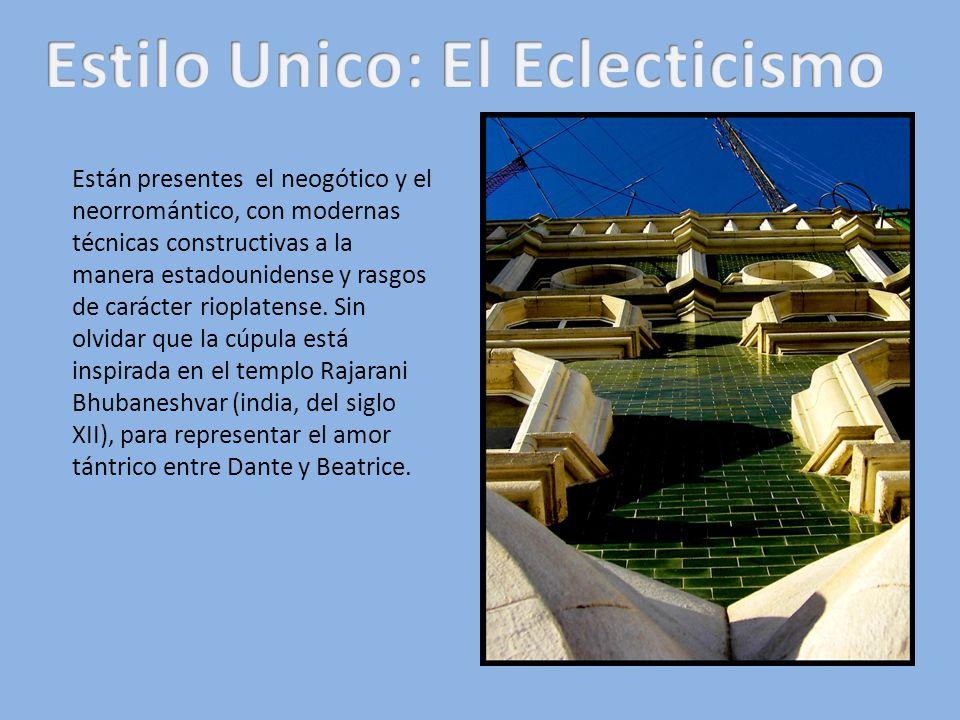 Están presentes el neogótico y el neorromántico, con modernas técnicas constructivas a la manera estadounidense y rasgos de carácter rioplatense. Sin