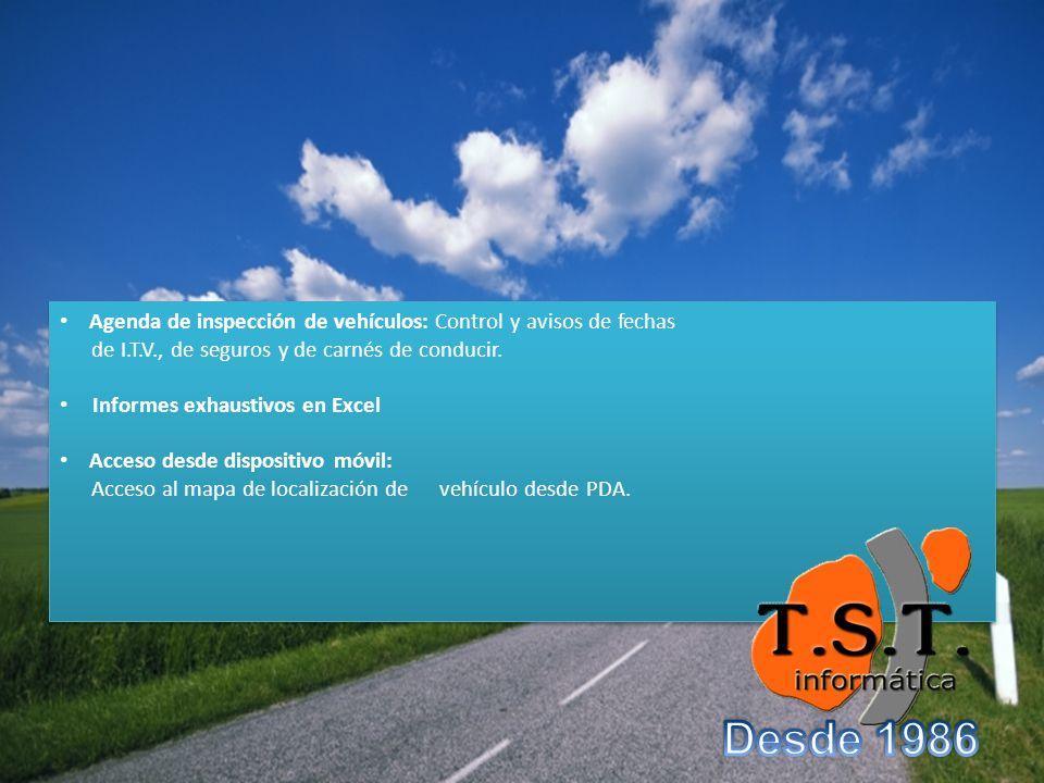 Agenda de inspección de vehículos: Control y avisos de fechas de I.T.V., de seguros y de carnés de conducir.
