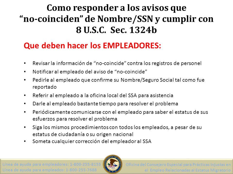 Como responder a los avisos que no-coinciden de Nombre/SSN y cumplir con 8 U.S.C.