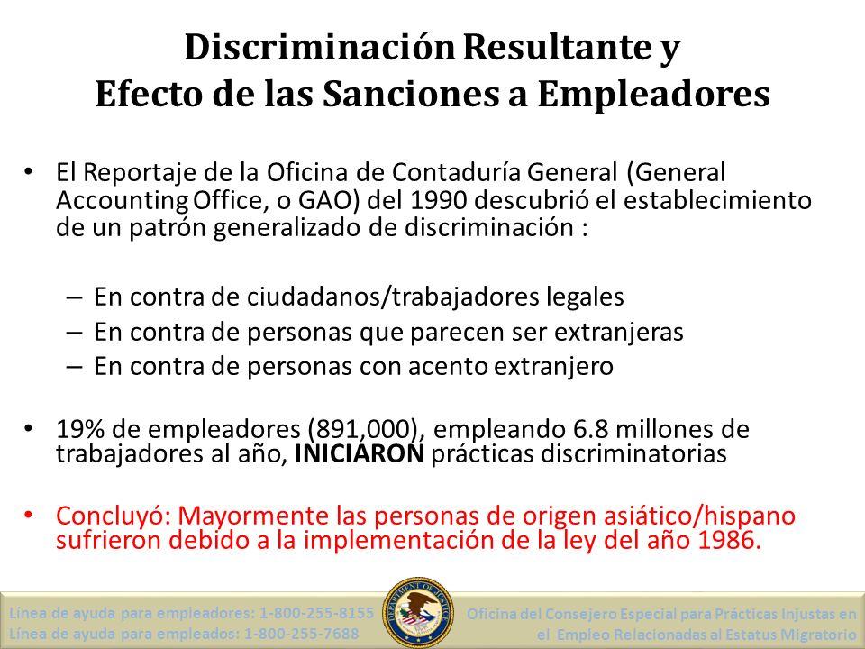 Formulario I-9: Sección 2 -Declaro, bajo pena de perjurio, que he examinado los documentos presentado(s) por el empleado arriba mencionado, que los documento(s) arriba enumerado(s) parece(n) ser autentico(s) y parece(n) ser relacionado(s) con dicho empleado… -Indique los documento(s) en el bloque apropiado -Firme y ponga la fecha en la sección de certificación Línea de ayuda para empleadores: 1-800-255-8155 Línea de ayuda para empleados: 1-800-255-7688 Oficina del Consejero Especial para Prácticas Injustas en el Empleo Relacionadas al Estatus Migratorio