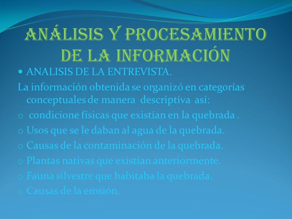 Análisis de la observación del estado actual de la quebrada La información recolectada a partir de las guías de observación se analizó así: Características físicas de la quebrada y su ribera.