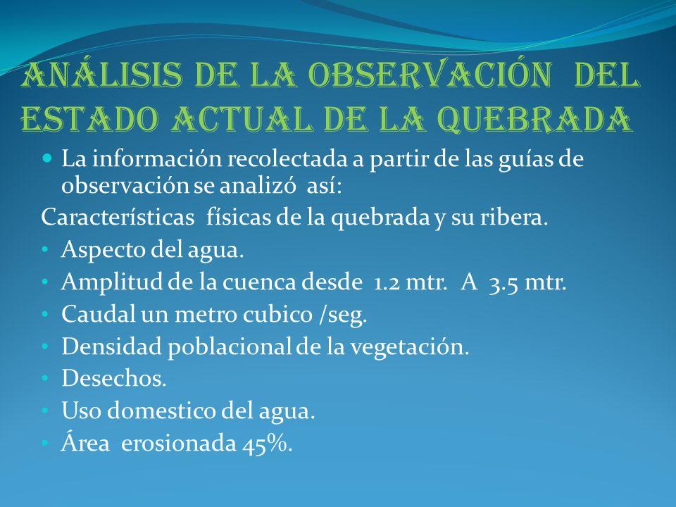 Análisis de la observación del estado actual de la quebrada La información recolectada a partir de las guías de observación se analizó así: Caracterís