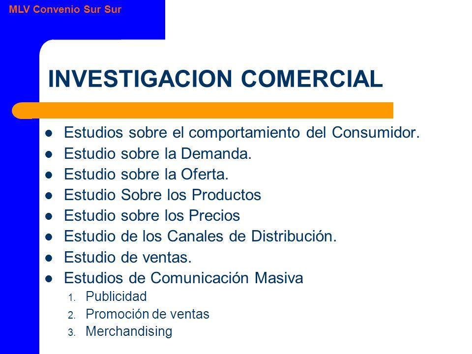 MLV Convenio Sur Sur INVESTIGACION COMERCIAL Estudios sobre el comportamiento del Consumidor.