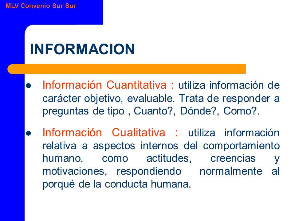 MLV Convenio Sur Sur INFORMACION Información Cuantitativa : utiliza información de carácter objetivo, evaluable.