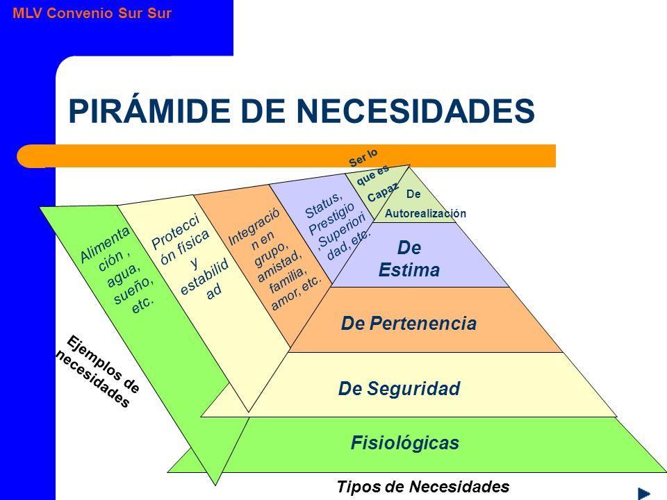 MLV Convenio Sur Sur PIRÁMIDE DE NECESIDADES Fisiológicas Alimenta ción, agua, sueño, etc.