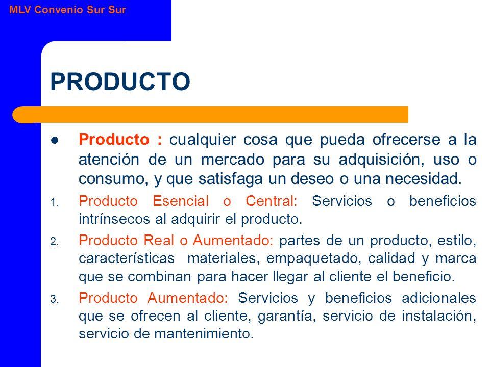 MLV Convenio Sur Sur PRODUCTO Producto : cualquier cosa que pueda ofrecerse a la atención de un mercado para su adquisición, uso o consumo, y que satisfaga un deseo o una necesidad.