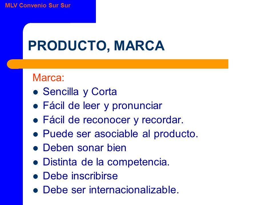 MLV Convenio Sur Sur PRODUCTO, MARCA Marca: Sencilla y Corta Fácil de leer y pronunciar Fácil de reconocer y recordar.