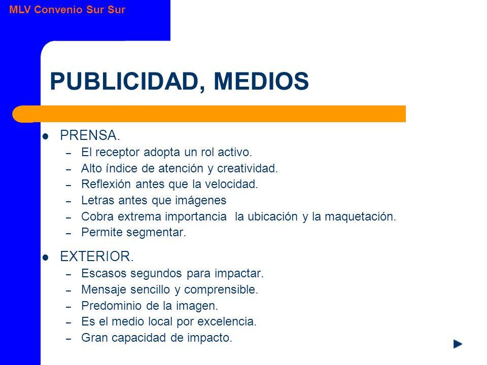 MLV Convenio Sur Sur PUBLICIDAD, MEDIOS PRENSA.– El receptor adopta un rol activo.