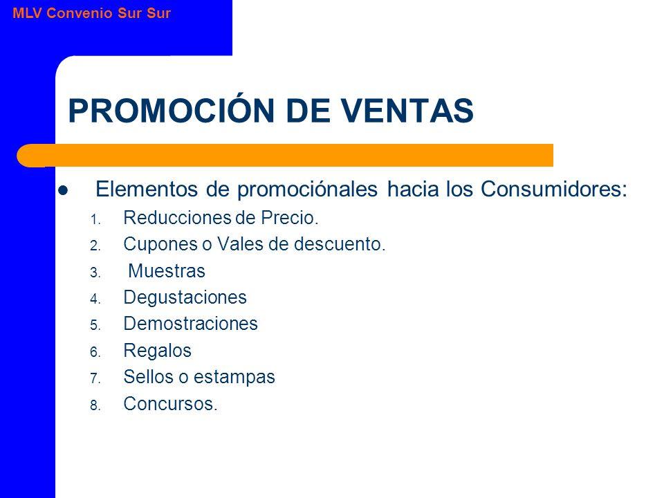 MLV Convenio Sur Sur PROMOCIÓN DE VENTAS Elementos de promociónales hacia los Consumidores: 1.