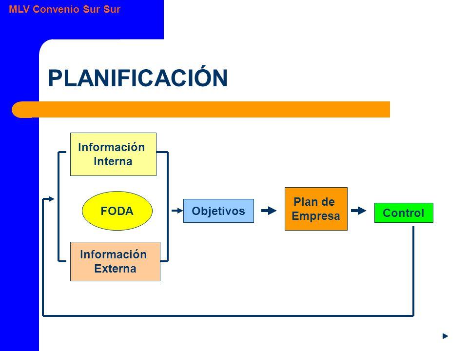 MLV Convenio Sur Sur PLANIFICACIÓN Información Interna Información Externa FODA Objetivos Plan de Empresa Control