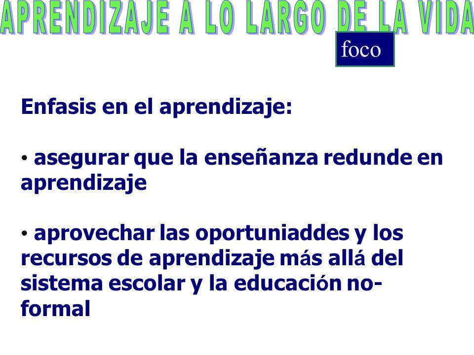 Enfasis en el aprendizaje: asegurar que la enseñanza redunde en aprendizaje aprovechar las oportuniaddes y los recursos de aprendizaje m á s all á del sistema escolar y la educaci ó n no- formal foco