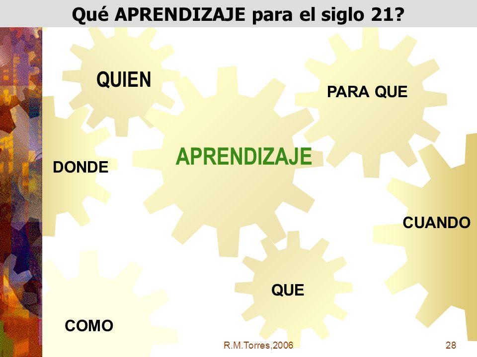R.M.Torres,200628 Qué APRENDIZAJE para el siglo 21.