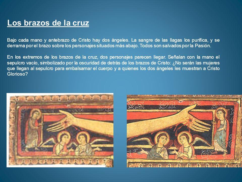 Los brazos de la cruz Bajo cada mano y antebrazo de Cristo hay dos ángeles. La sangre de las llagas los purifica, y se derrama por el brazo sobre los