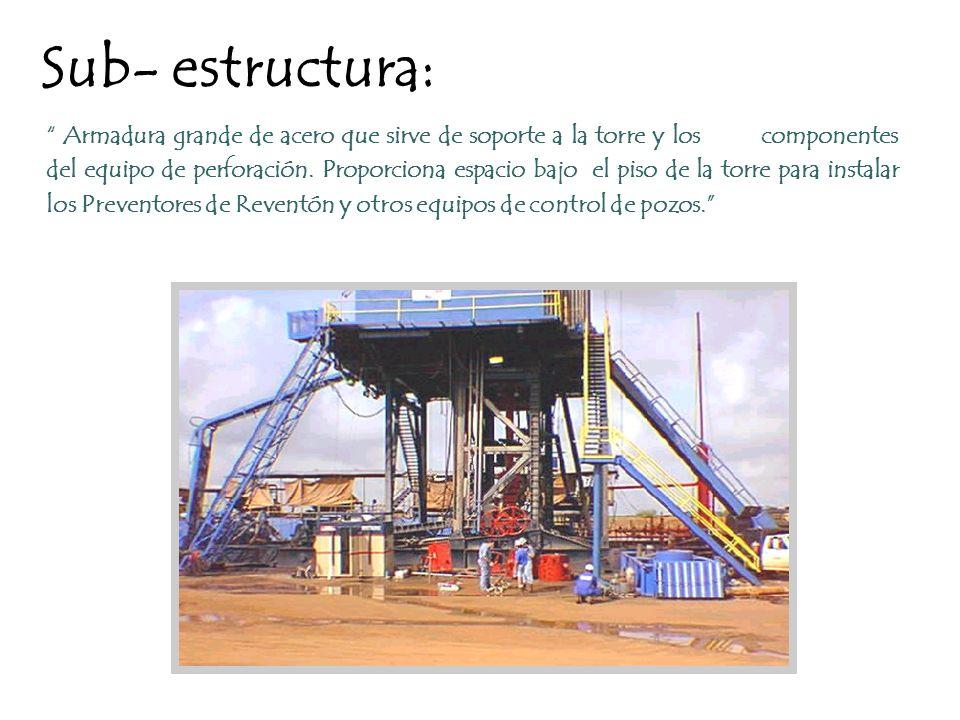 Sub- estructura: Armadura grande de acero que sirve de soporte a la torre y los componentes del equipo de perforación. Proporciona espacio bajo el pis