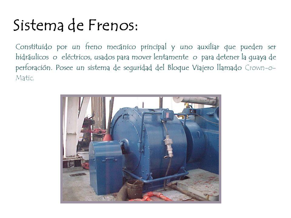 Sistema de Frenos: Constituido por un freno mecánico principal y uno auxiliar que pueden ser hidráulicos o eléctricos, usados para mover lentamente o