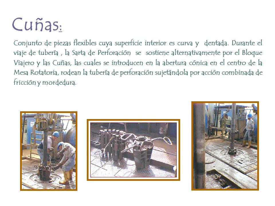 Cuñas : Conjunto de piezas flexibles cuya superficie interior es curva y dentada. Durante el viaje de tubería, la Sarta de Perforación se sostiene alt