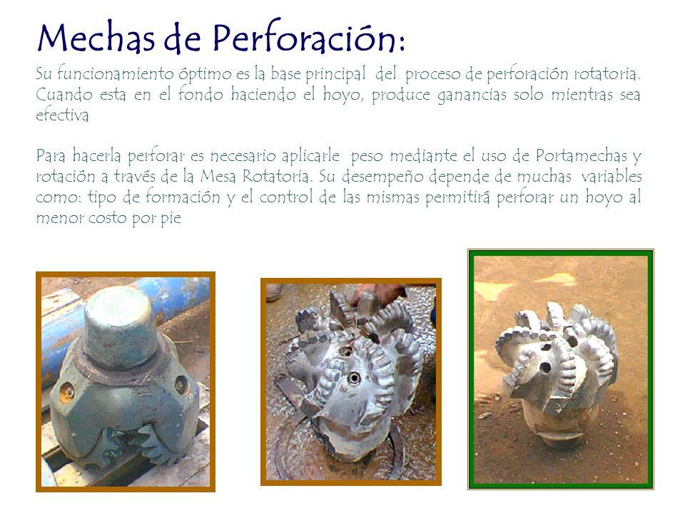 Mechas de Perforación: Su funcionamiento óptimo es la base principal del proceso de perforación rotatoria. Cuando esta en el fondo haciendo el hoyo, p