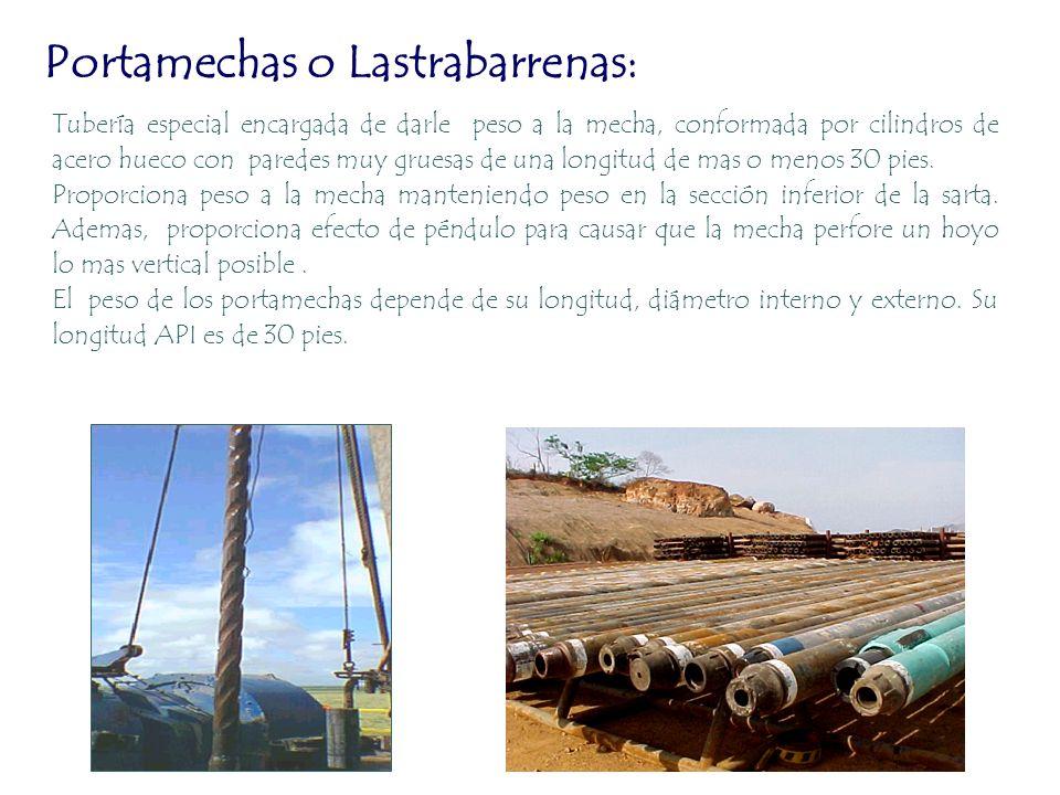 Portamechas o Lastrabarrenas: Tubería especial encargada de darle peso a la mecha, conformada por cilindros de acero hueco con paredes muy gruesas de