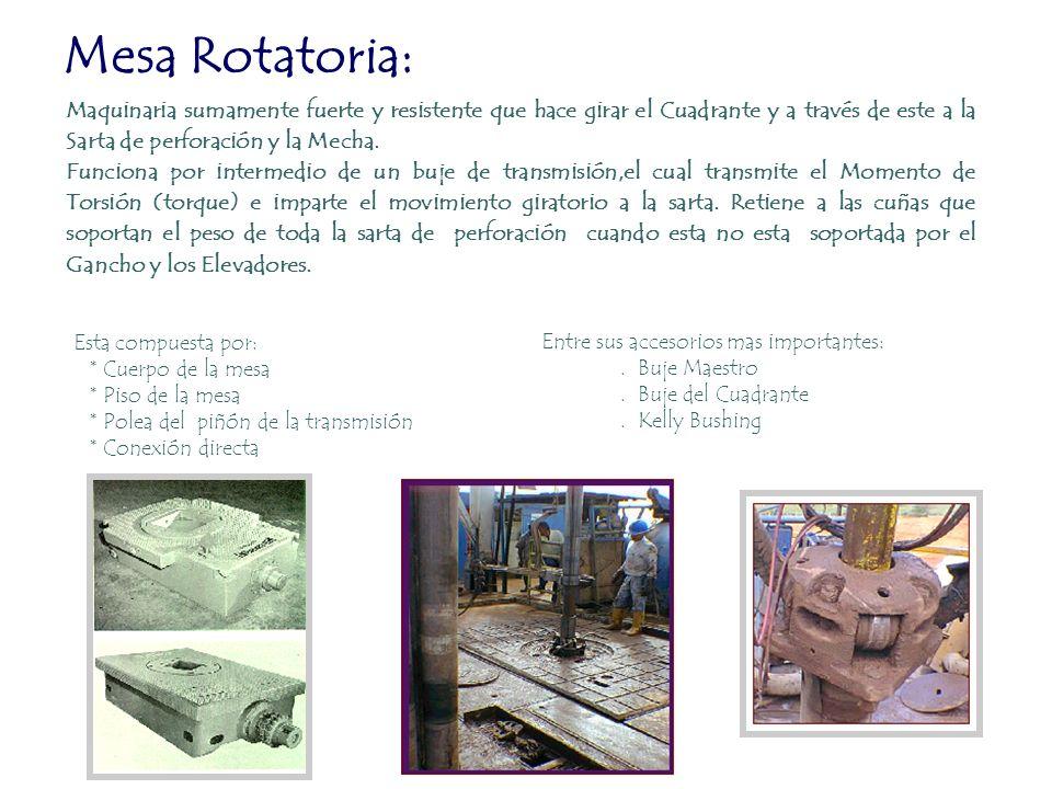 Mesa Rotatoria: Maquinaria sumamente fuerte y resistente que hace girar el Cuadrante y a través de este a la Sarta de perforación y la Mecha. Funciona