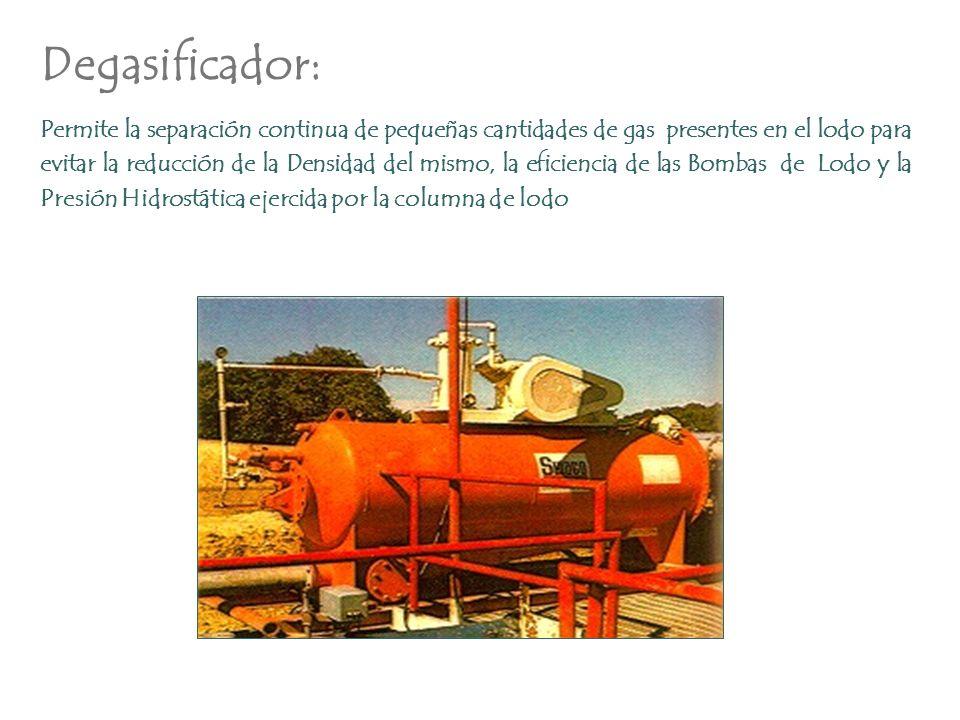 Degasificador: Permite la separación continua de pequeñas cantidades de gas presentes en el lodo para evitar la reducción de la Densidad del mismo, la