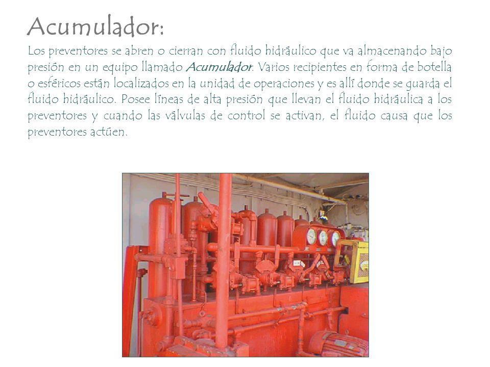 Los preventores se abren o cierran con fluido hidráulico que va almacenando bajo presión en un equipo llamado Acumulador. Varios recipientes en forma