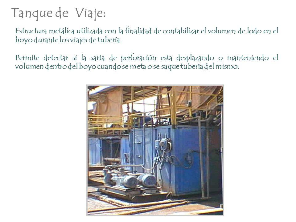 Tanque de Viaje: Estructura metálica utilizada con la finalidad de contabilizar el volumen de lodo en el hoyo durante los viajes de tubería. Permite d