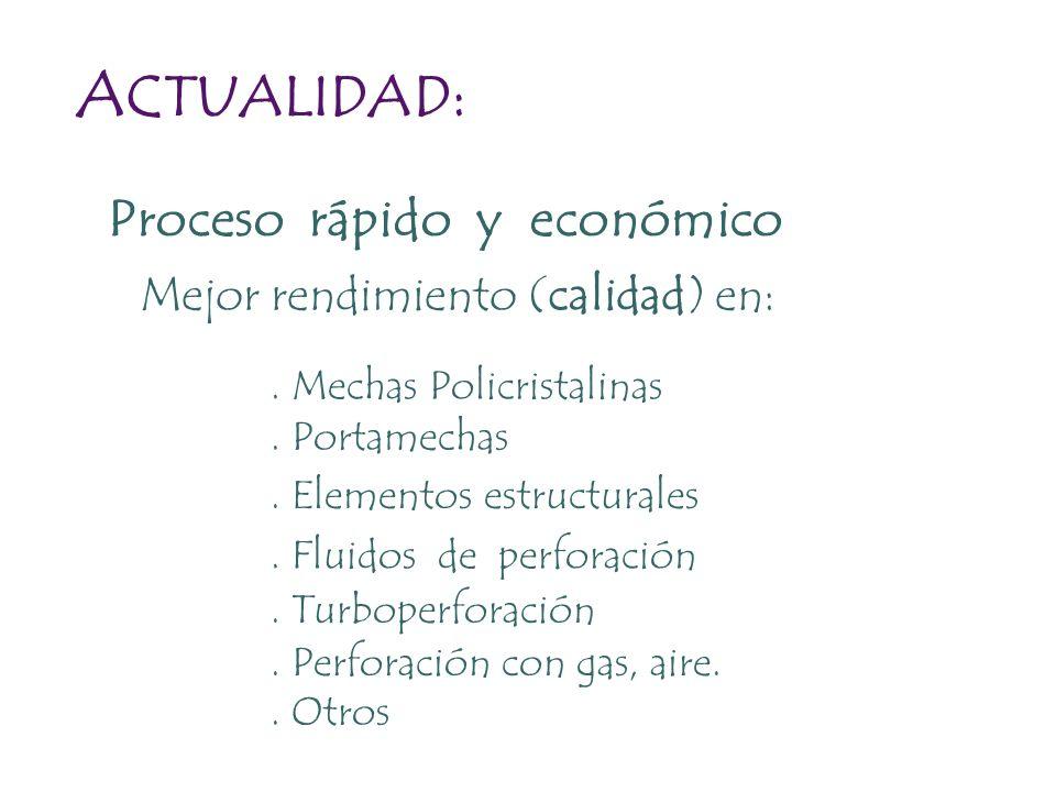 A CTUALIDAD: Proceso rápido y económico Mejor rendimiento (calidad) en:. Mechas Policristalinas. Portamechas. Elementos estructurales. Fluidos de perf