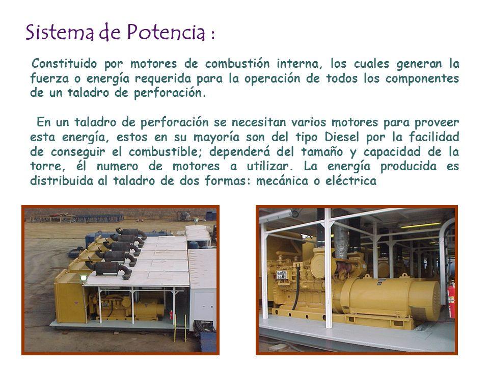 Sistema de Potencia : Constituido por motores de combustión interna, los cuales generan la fuerza o energía requerida para la operación de todos los c
