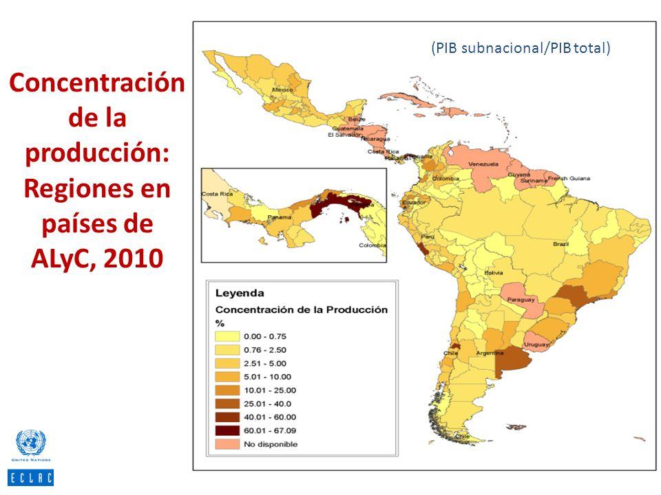 Concentración de la producción: Regiones en países de ALyC, 2010 (PIB subnacional/PIB total)