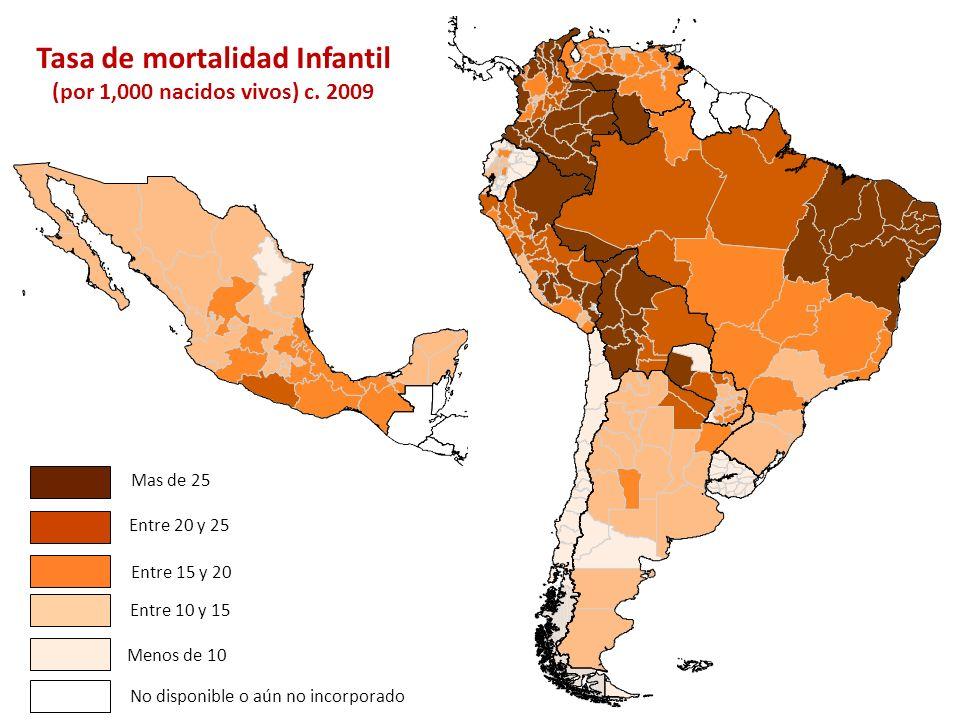 Tasa de mortalidad Infantil (por 1,000 nacidos vivos) c. 2009 Entre 15 y 20 Entre 10 y 15 Menos de 10 Entre 20 y 25 Mas de 25 No disponible o aún no i