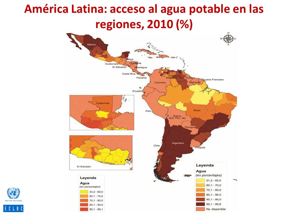 América Latina: acceso al agua potable en las regiones, 2010 (%)