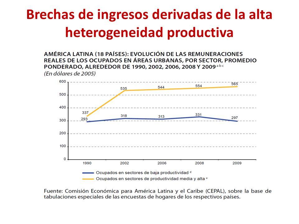 Brechas de ingresos derivadas de la alta heterogeneidad productiva